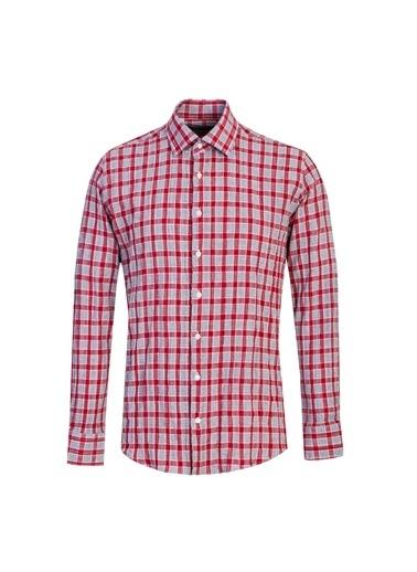 Kiğılı Uzun Kol Ekose Slim Fit Gömlek Kırmızı